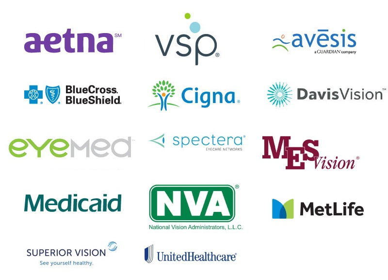 Aetna VSP BlueCross BlueShield MES Eyemed Medicaid Spectera United Healthcare Superior Vision
