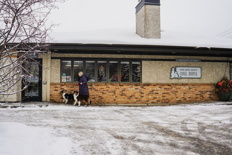 Inver Grove Heights Animal Hospital exterior view with snow.